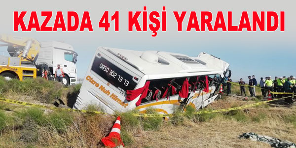 Otobüs devrildi