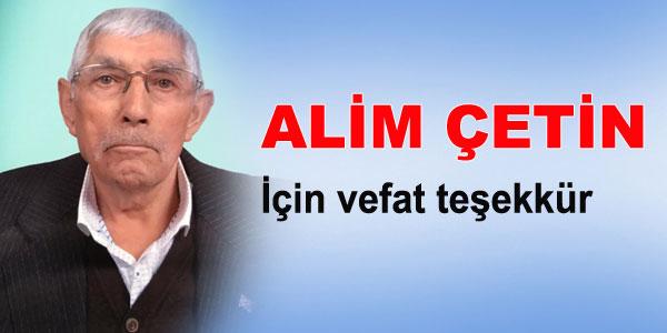 Vefat Teşekkür - Alim Çetin