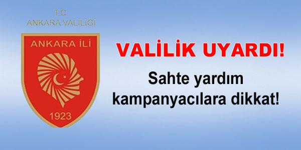 Ankara Valiliğinden uyarı
