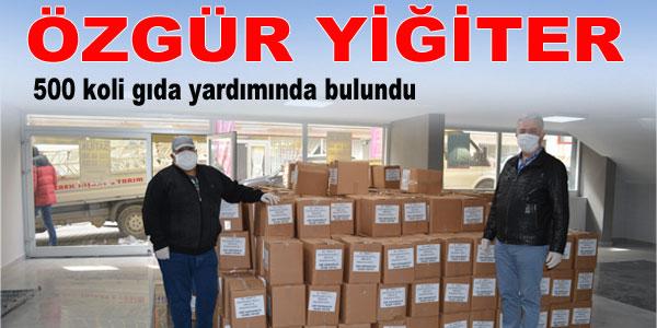 Özgür Yiğiter'den 500 koli gıda yardımı